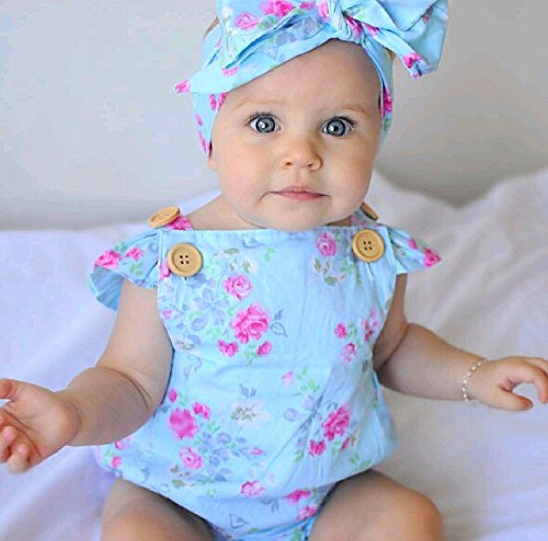 Baby Girls\' Full Flower Print Buttons Ruffles Romper Bodysuit with ...