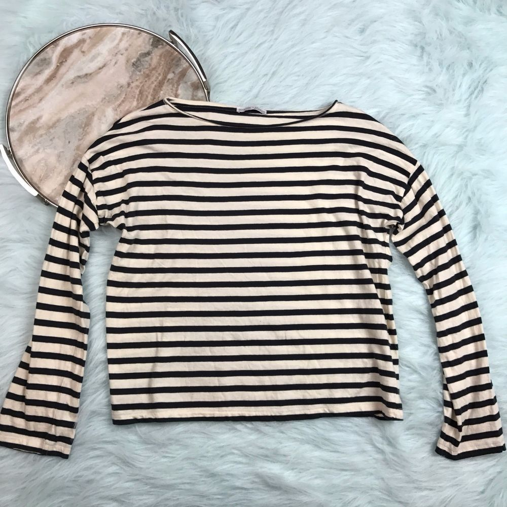 87b4672e5f Zara Trafaluc Womens Small Black White Striped Shirt Long Sleeve Crewneck  E52 | eBay