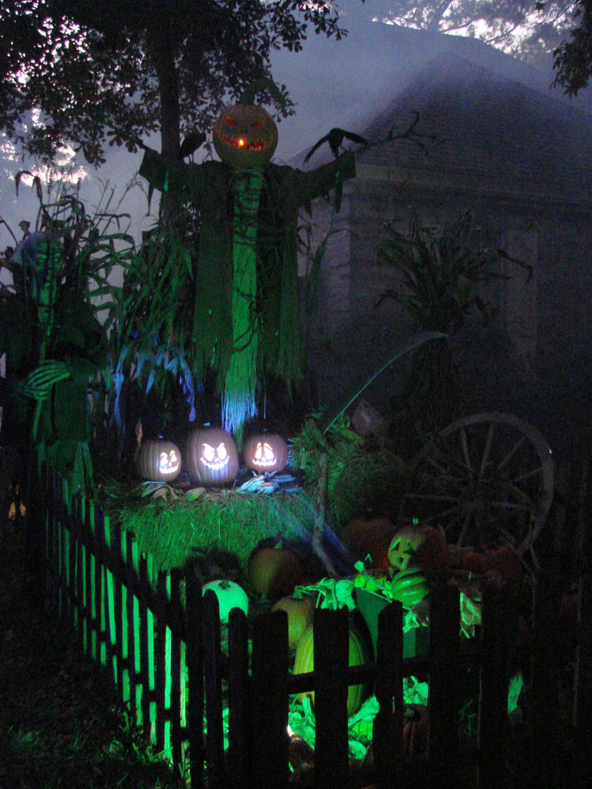 Pumpkin King with singing pumpkins Christmas Lights Outside - Halloween Yard Decorations Ideas