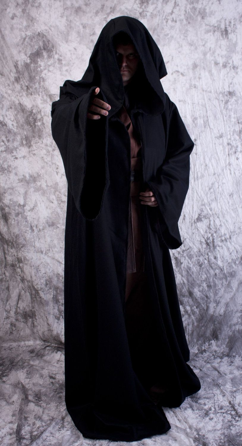 3a0ddf1f32 Wool Jedi or Sith Robe BLACK or BROWN for Star Wars Costume.  180.00 ...
