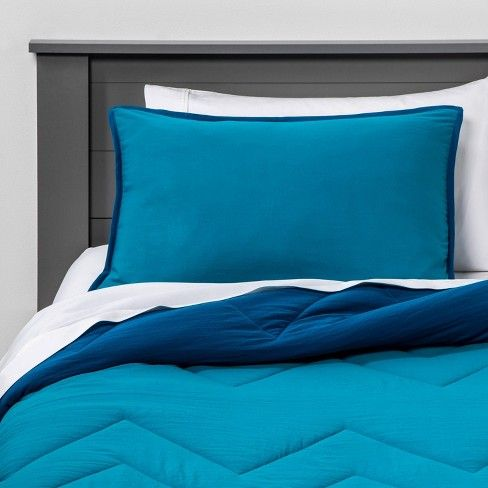 Twin Reversible Comforter Set Turquoise - Pillowfort