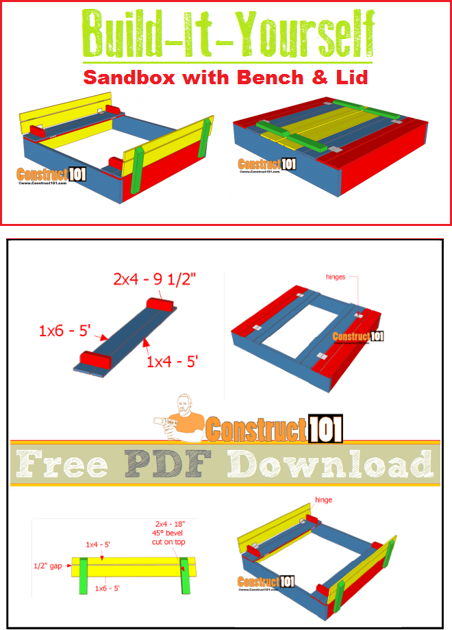 Sandbox Plans with Bench & Lid - PDF Download | Construct101