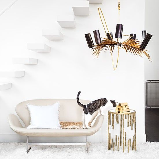 White and bronze is so chic. Would love this as a living room...