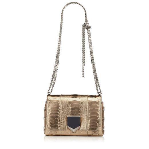 18fdcf0087 JIMMY CHOO LOCKETT PETITE Gold Metallic Ostrich Leg Shoulder Bag. #jimmychoo  #bags #shoulder bags #patent #metallic #