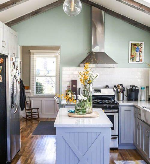 Du vert pastel dans une cuisine mode d 39 emploi et accords de couleurs carnet deco pinterest - Poubelle de cuisine vert pastel ...