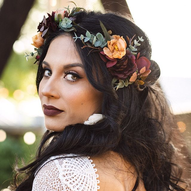 Burgundy burnt orange floral crown Rust floral wreath Wedding headpiece Burgundy bridal hairpiece Bridesmaid crown Maternity crown- MUSTARD
