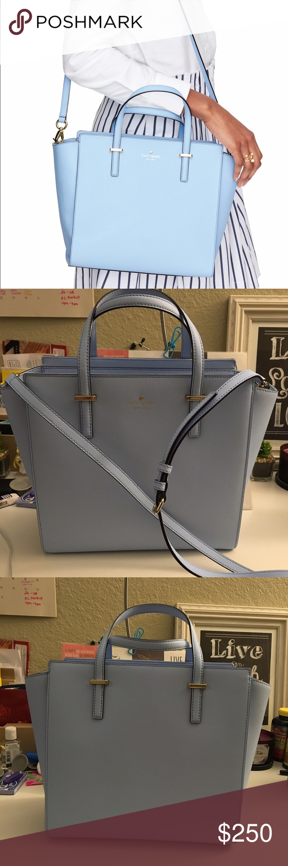 "👜Kate Spade Large Handbag 100% Authentic. Used ONLY once! Like new. Got it 2 months ago at Kate Spade. I recently bought a smaller version 😍. Will not include the dust bag. The color is sky blue. Trust me, the color is beautiful 😍. No trade. No low ball offers. Thank you!  SIZE 10''h x 11''w x 5''d drop length: 5"" handheld, 18.5-20.5'' adjustable strap  MATERIAL crosshatched leather with matching trim 14-karat light gold plated hardware custom woven caroleena spade dot lining kate spade…"