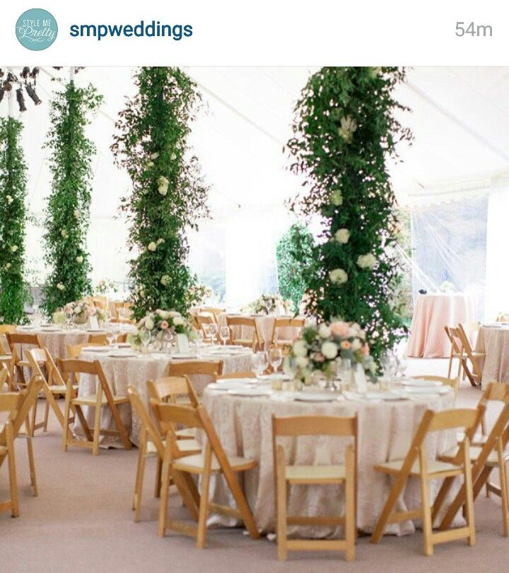 Column Wraps For Cocktails Greenery Wedding Marquee Wedding
