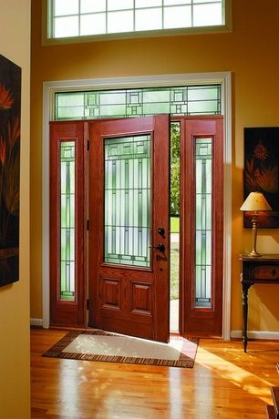 Craftsman Entryway With Stained Glass Window Hardwood Floors