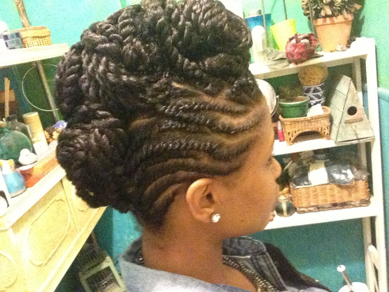 Flat Twist Mohawk Updo With Two Strand Twist In The Middle
