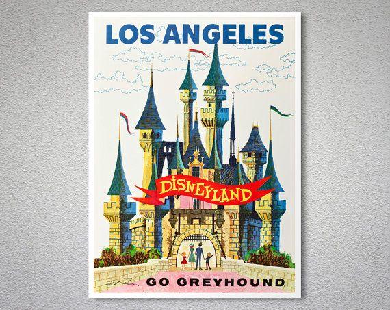 Los angeles disneyland travel poster art print poster print sticker or canvas print