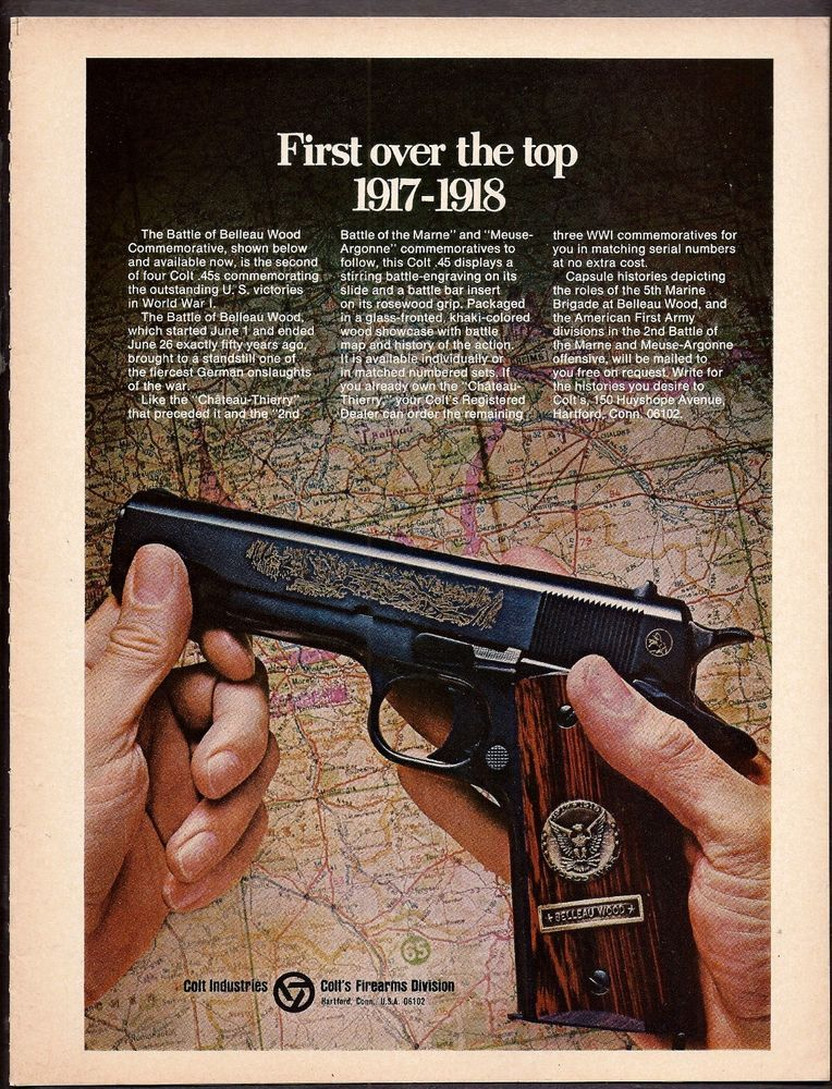 1968 COLT Battle Of Belleau Wood Commemorative 45 Pistol AD Print