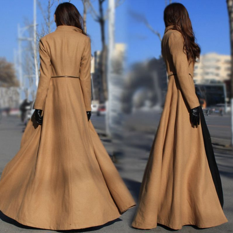 New Womens Full Length Trench Coat Detachable jacket Cool Dress Sweep Parka - Top Quality!2014 New Autumn Winter Designer Fashion Women Floor