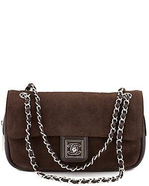 Chanel Brown Suede Single Flap Bag