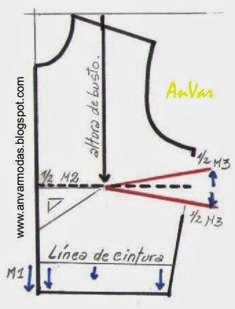bedbe9fe7 AnVar - Te enseño a coser: TRAZADO DE LA PINZA DE BUSTO | tecnicas ...