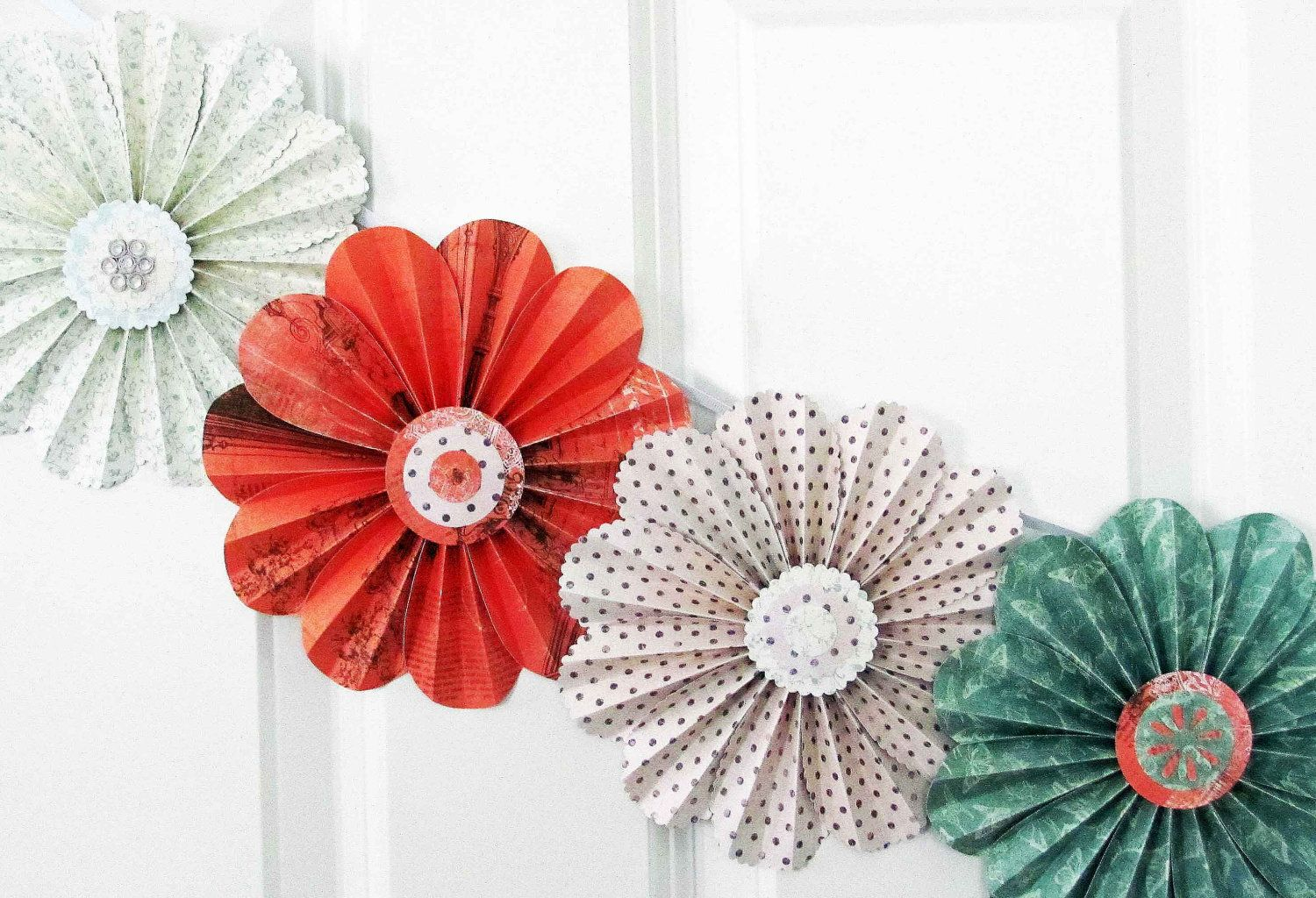 SO cute paper flowers garland coral green party home decor photo