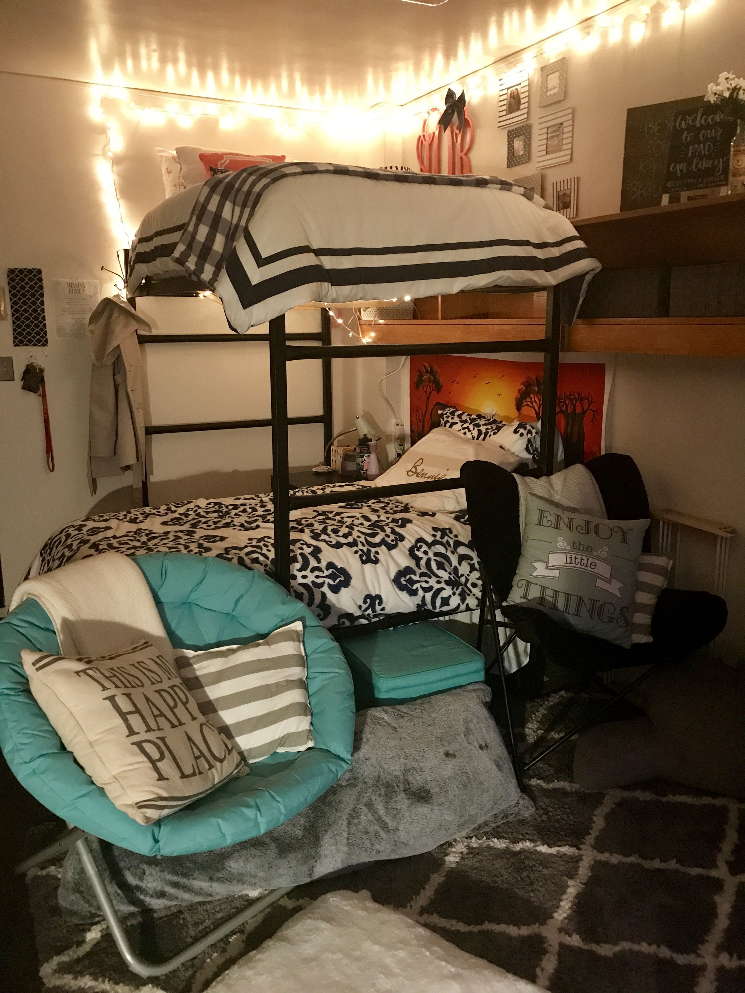 Preppy, navy, white, turquoise, coral freshman dorm room