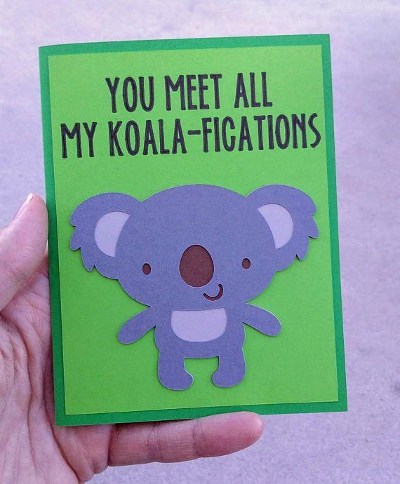 Valentine Card Cute Koala Card Animal Valentine Funny