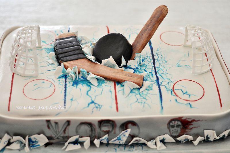 Ice Hockey Cake With Images Hockey Cakes Hockey Birthday