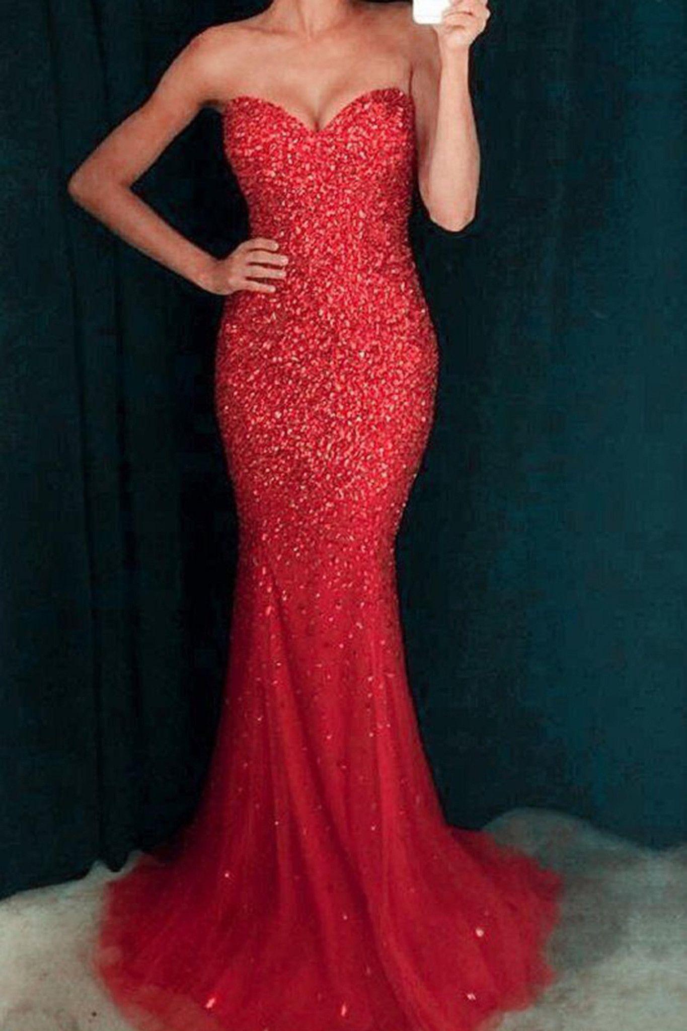 Red sequins sweetheart floorlength mermaid prom dresses in