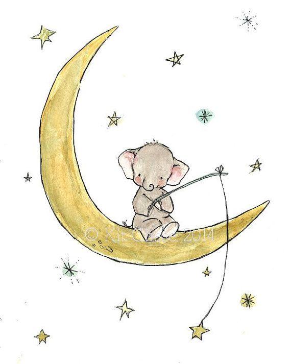 Arte de la pared del cuarto de niños--Starfishing elefante--arte de la pared de elefante, elefante y estrellas arte, elefante en el arte de la luna, elefante infantiles imprimir