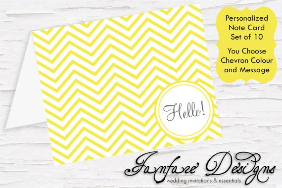 Fun Chevron Personalized Note Card with by FanfareDesigns on Etsy