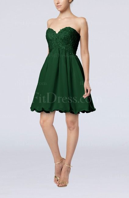Hunter Green Cute A-line Sweetheart Sleeveless Lace up Short Graduation Dresses - iFitDress.com  maybe we could order it tea length