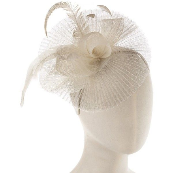 Ivory Pleated Satellite Fascinator - Hair - Shop ($31) via Polyvore