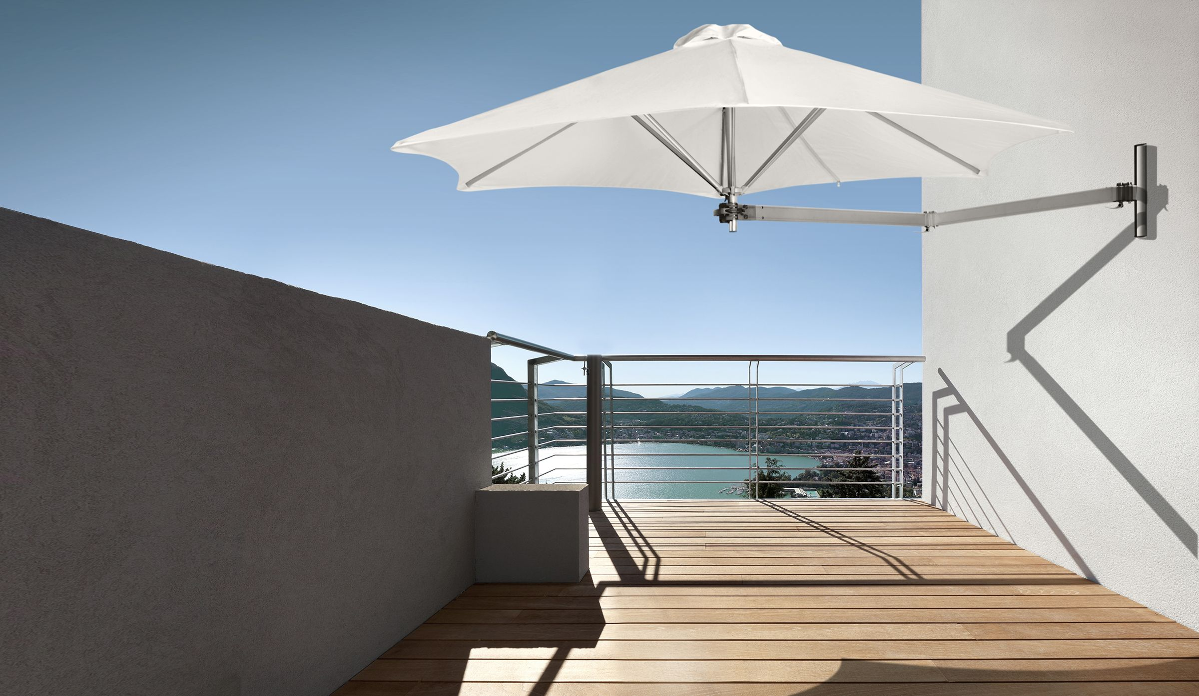 The Paraflex Wall Mounted Umbrella With No Central Pole Your Options In A Smaller E Are Multiplied