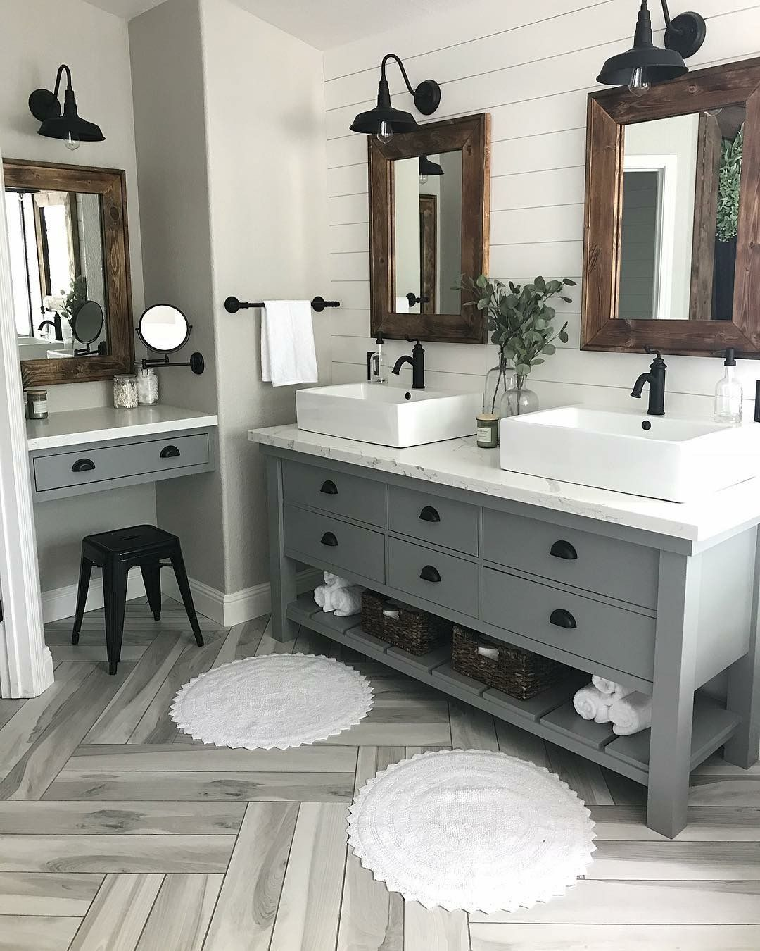 Love Mirrors And Double Sink Setup And Variety Area Maybe Cabinet Color Change Farmhouse Master Bathroom Bathroom Remodel Master Master Bath Renovation