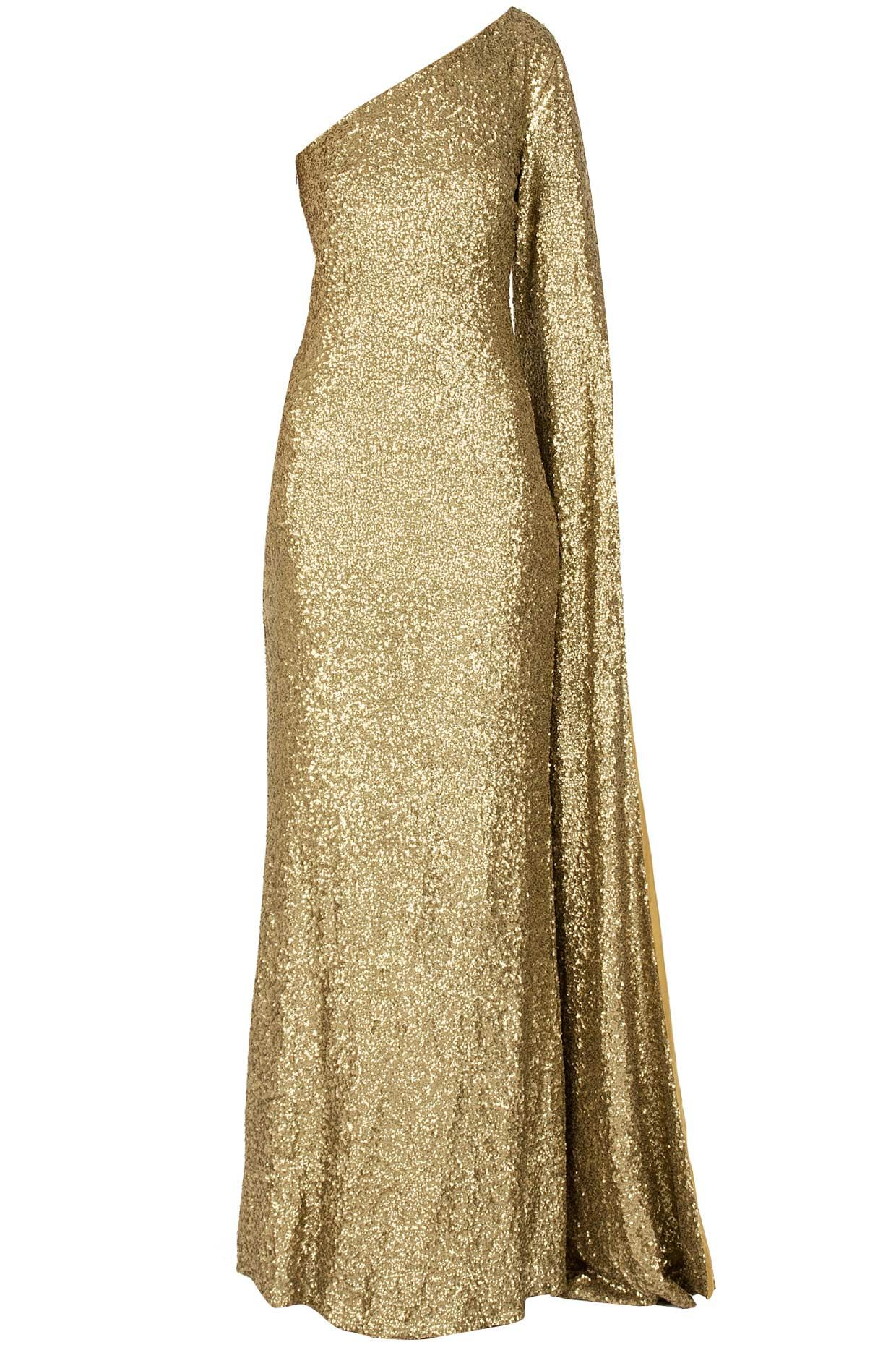 Yellow dress long sleeve  Shimmer long sleeved gown available only at Perniaus PopUp Shop