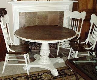 Faux Painting + Furniture: French Country Table & Chairs with Hutch! -Custom order makeover