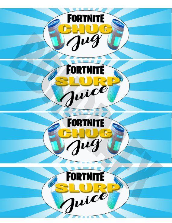 Fortnite Birthday Fortnite Party Water Bottle Labels Slurp Juice Chug Jug Printabl Free Birthday Stuff Birthday Party Printables Free Boy Birthday Parties