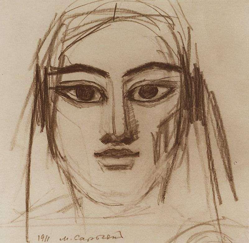 1911 Египтянка. Б., к. 16.5х18 ЧС (МС q) - Сарьян Мартирос Сергеевич