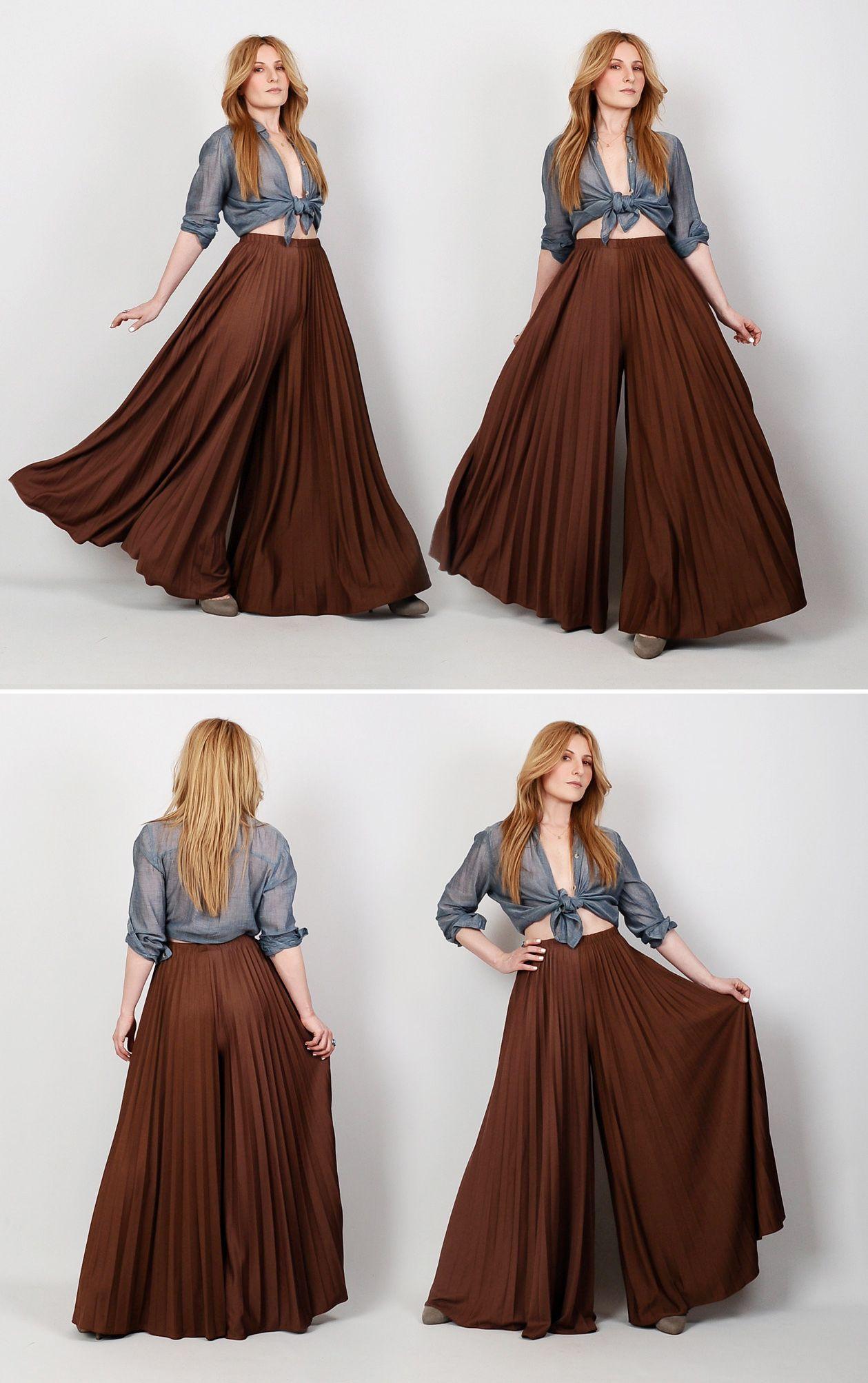 3dda441d306a 70s brown pleated mega wide leg palazzo pants.