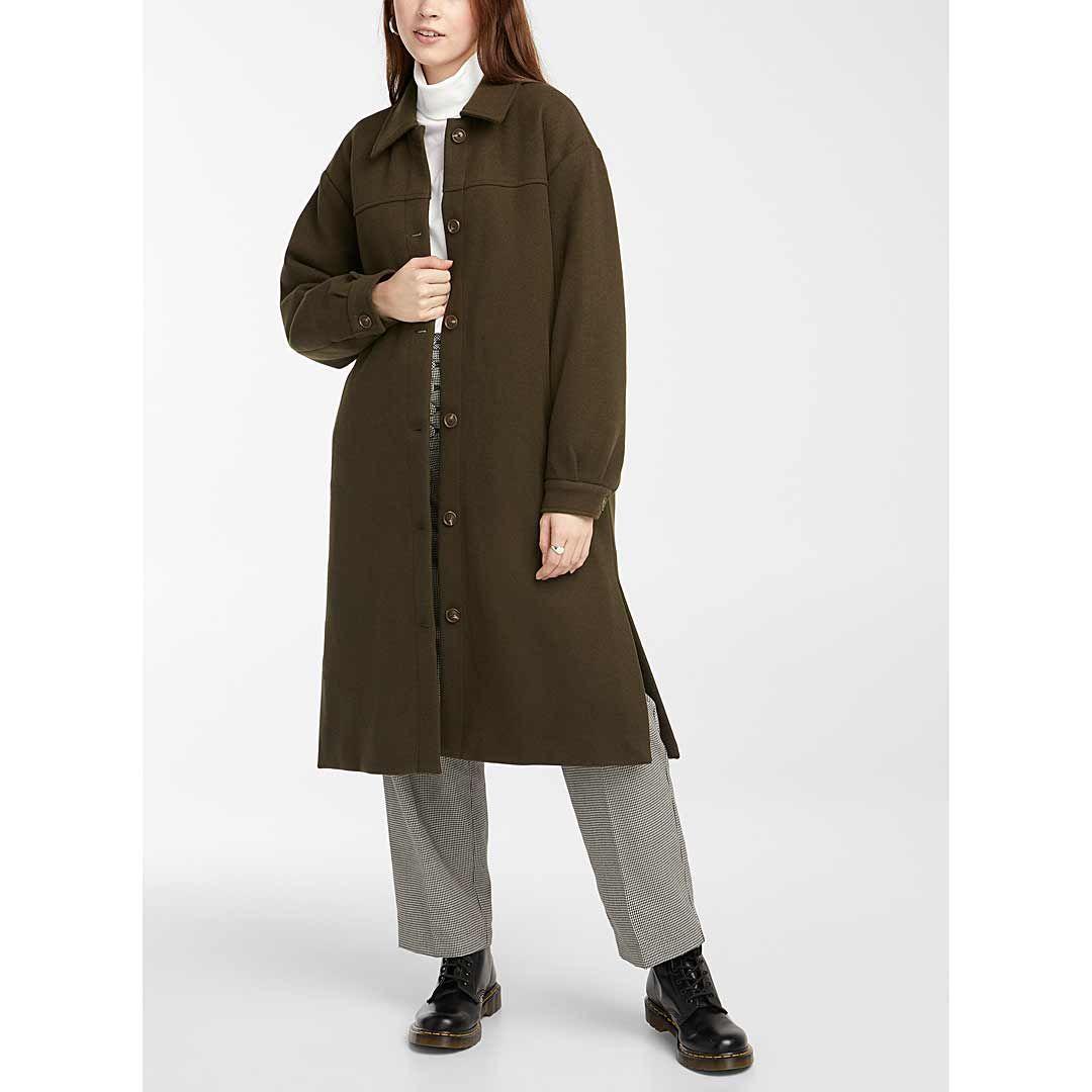 Long minimalist button-up coat