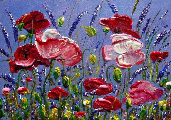 Купить маки в поле - сиреневый, маки пейзаж, маки, пейзаж, цветы, небо, небесно-голубой: