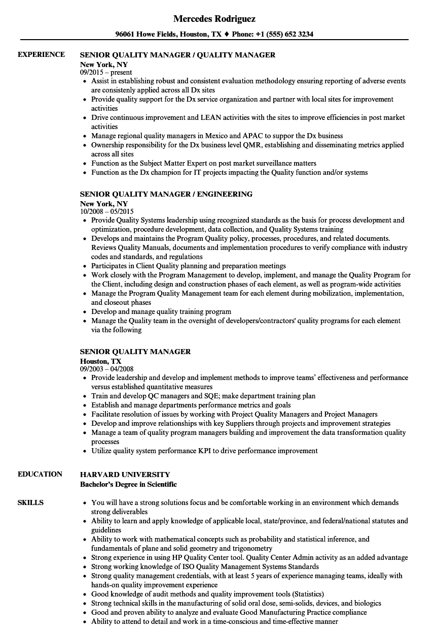 Resume Examples Quality Manager Resume Templates Project Manager Resume Marketing Resume Customer Service Resume