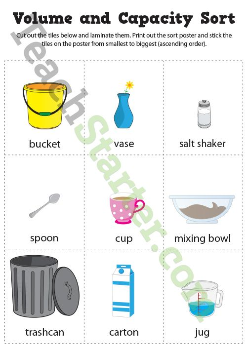 Volume And Capacity Sort Game Teaching Resource Teach Starter Capacity Worksheets Volume And Capacity Kindergarten Worksheets Liquid volume worksheets