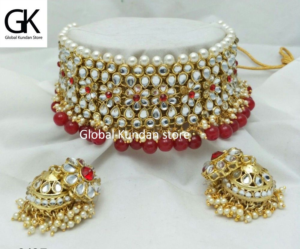 1f30e0d13e643 Indian Wedding Red Color Choker Necklace Earring Jhumki Set ...