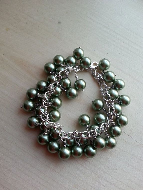Gorgeous green pearl silver bracelet over 30 by ILoveBeads247, $12.00 check out the necklace to go with