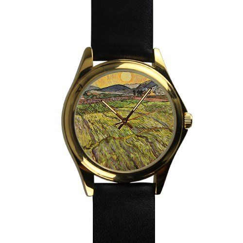 Popular Van Gogh Pastoral Art Unisex -tone Round Leather Metal Watch * Amazing product just a click away  : Travel Gadgets