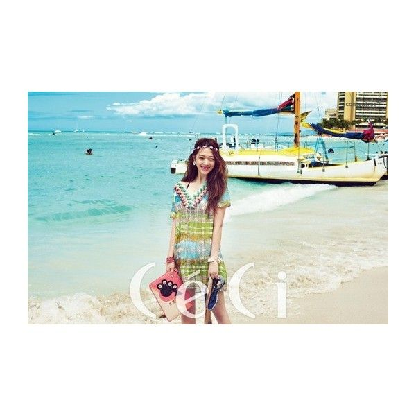 f(x)'s Sulli travels in style for 'CeCi' pictorial in Hawaii ❤ liked on Polyvore featuring photo