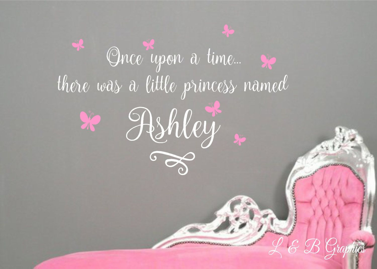 Once upon a time custom namevinyl wall decalnursery wall decal