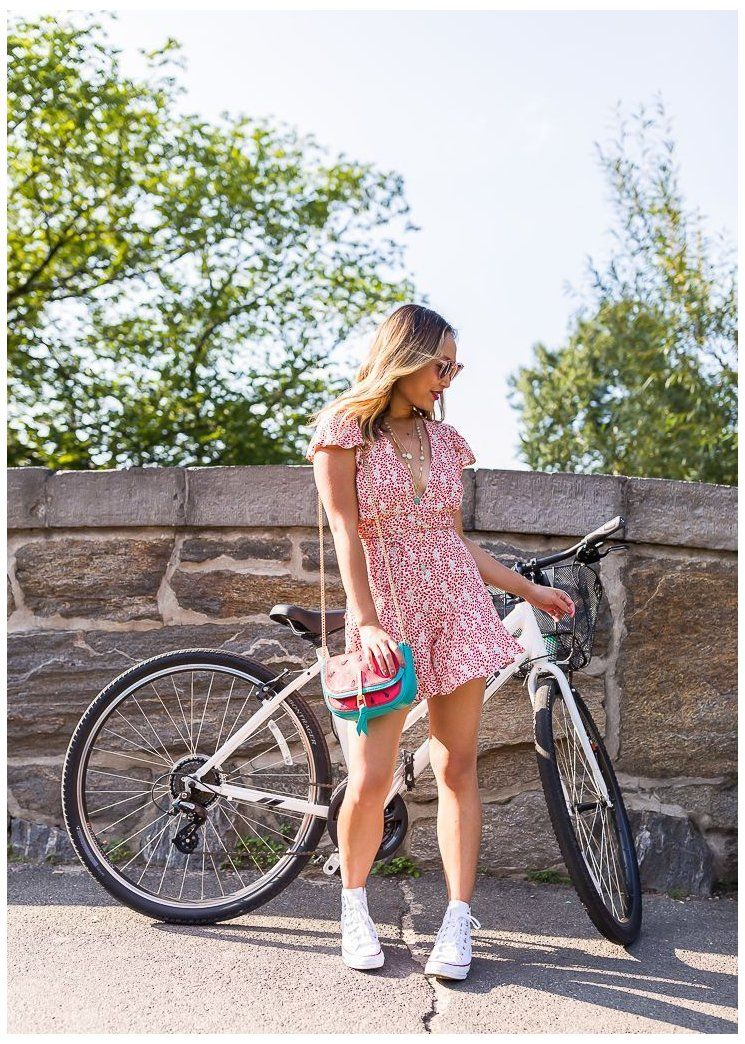 Stylish Bike Riding Outfit Idea Red Romper Converse Red Romper Outfit Summer Street St In 2021 Top Summer Outfits Bike Riding Outfit High Top Converse Outfits