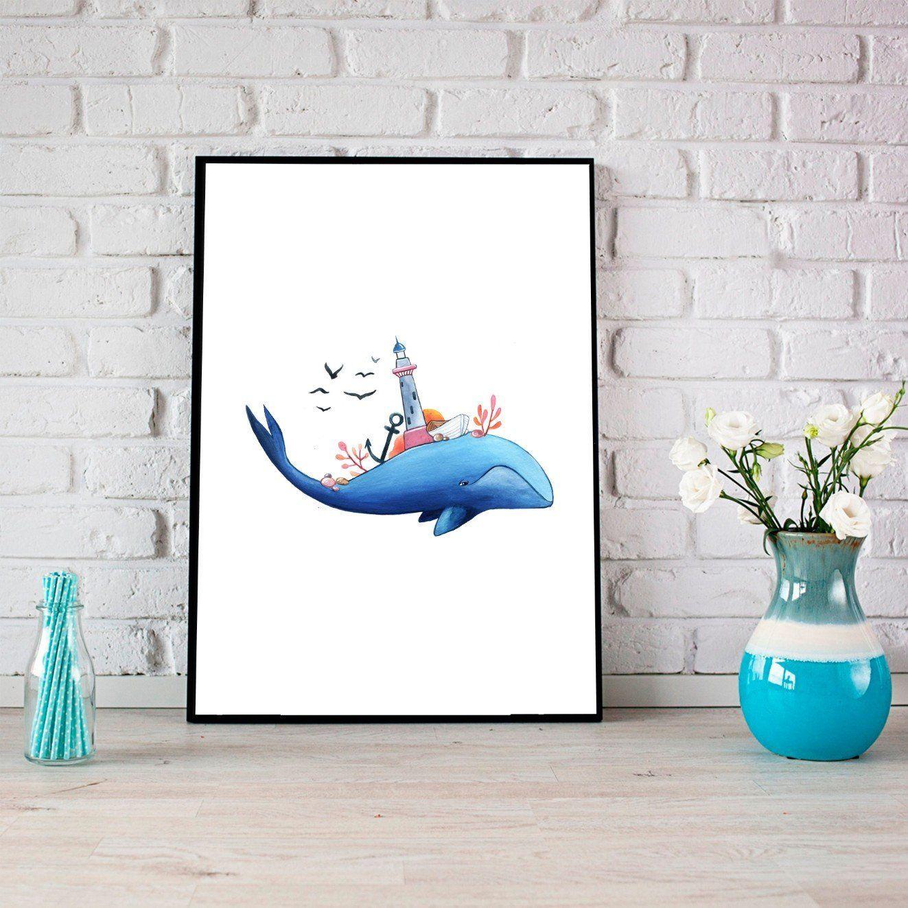 Whale Print Watercolor Whale Print Nursery Wall Art Kids Room