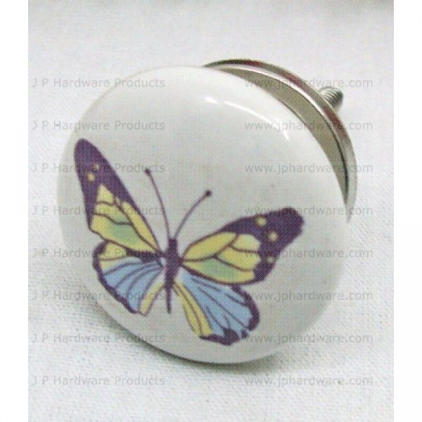 Butterfly Ceramic Knob, Porcelain Cupboard Door Knobs Handles | door ...