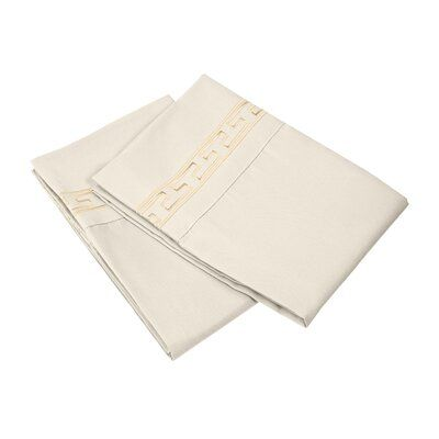 Charlton Home Warrenville Solid Regal Embroidery Pillowcase Size: Standard, Colour: Taupe
