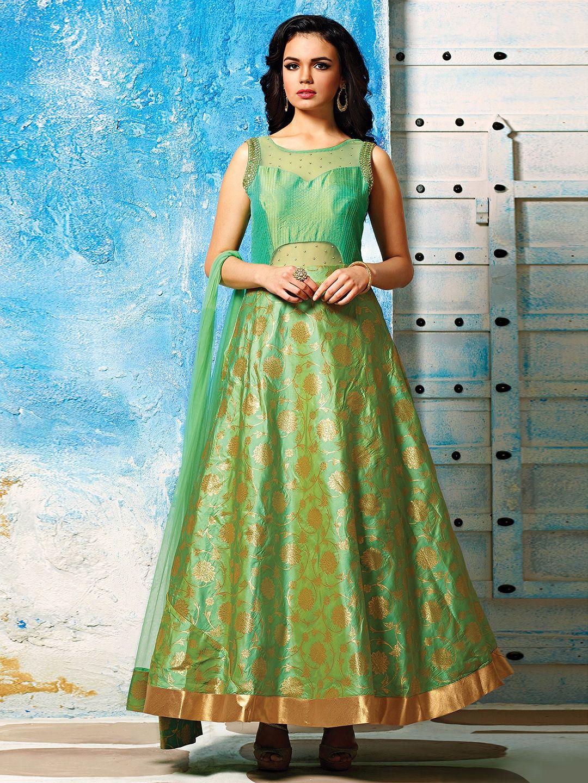 Green Silk Designer Long Anarkali Suit | Buy Party Wear Salwar ...