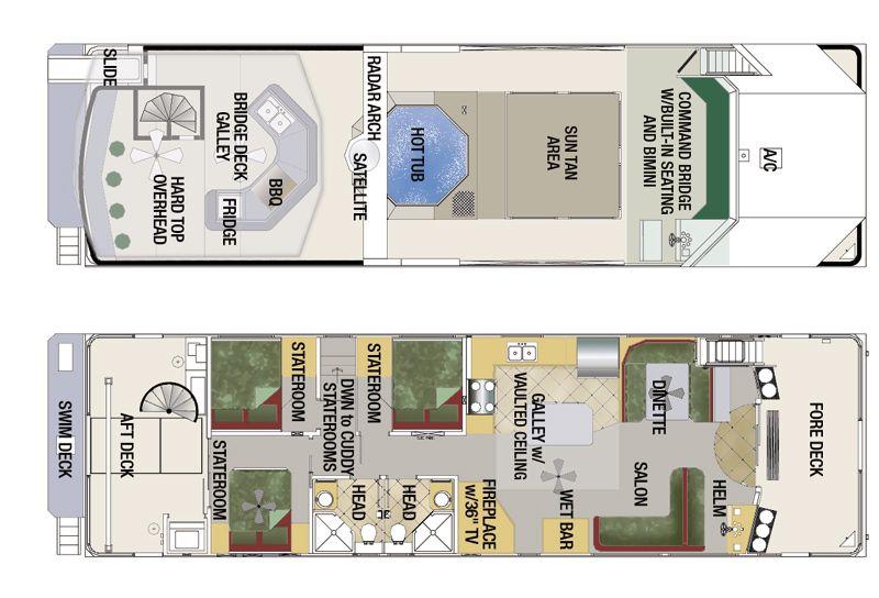 Http Www Twinanchorsmfg Com Images Floorplans Houseboat Plan Cc4 Jpg House Boat Floor Plans Trailerable Houseboats